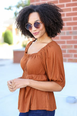 Textured Off-the-Shoulder Top in Camel Side View