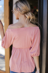 Textured Off-the-Shoulder Top in Blush Back View