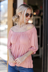 Textured Off-the-Shoulder Top in Blush Side View