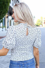 Floral Puff Sleeve Top Back View