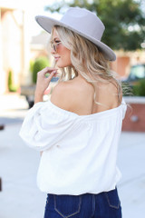 Square Neck Top in White Back View