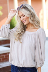 Taupe - Square Neck Top