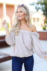 Taupe - Square Neck Top from Dress Up