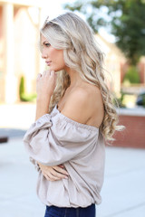 Square Neck Top in Taupe Side View