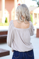 Square Neck Top in Taupe Back View