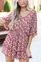 Close Up of a red Floral Romper