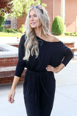 Black - Jersey Knit Jumpsuit from Dress Up