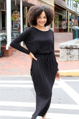 Jersey Knit Maxi Dress in Black Front View