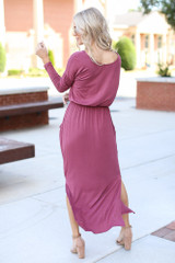 Jersey Knit Maxi Dress in Marsala Back View