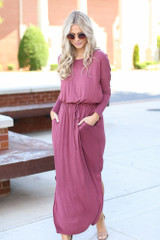 Jersey Knit Maxi Dress in Marsala Front View