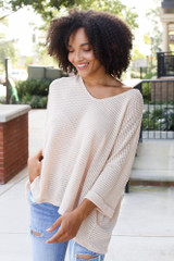 Natural - Model wearing an Oversized Waffle Knit Top