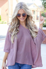Mauve - Dress Up model wearing an Oversized Waffle Knit Top
