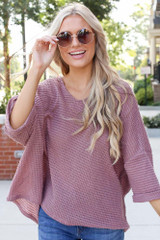 Mauve - Oversized Waffle Knit Top Front View