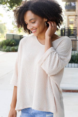 Oversized Waffle Knit Top in Natural Side View