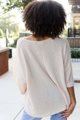Oversized Waffle Knit Top in Natural Back View