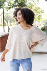 Oversized Waffle Knit Top in Natural Front View