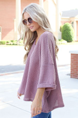 Oversized Waffle Knit Top in Mauve Side View