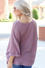 Oversized Waffle Knit Top in Mauve Back View