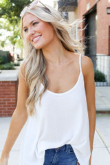 Textured Tank in White Front View