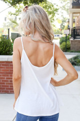 Textured Tank in White Back View