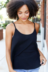 Textured Tank in Black Front View