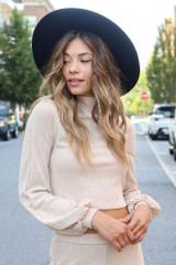 Taupe - Model wearing a Ribbed Knit Crop Top