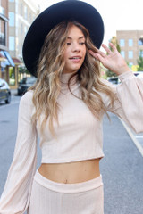 Taupe - Dress Up model wearing a Ribbed Knit Crop Top