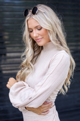 Ribbed Knit Crop Top in Taupe Side View
