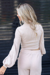 Ribbed Knit Crop Top in Taupe Back View