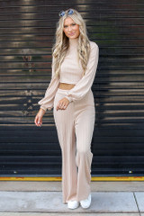 Model wearing a Ribbed Knit Crop Top in Taupe with the matching pants