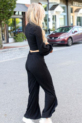 Ribbed Knit Wide Leg Pants in Black Side View