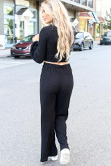 Ribbed Knit Wide Leg Pants in Black Back View