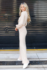 Ribbed Knit Wide Leg Pants in Taupe Side View