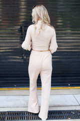 Ribbed Knit Wide Leg Pants in Taupe Back View