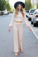 Ribbed Knit Wide Leg Pants in Taupe Front View