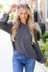Heather Grey - Dress Up model wearing a Ribbed Knit Top