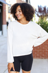 White - Dress Up model wearing a Ribbed Knit Top with biker shorts