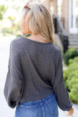 Ribbed Knit Top in Heather Grey Side View