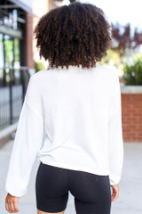 Ribbed Knit Top in White Back View