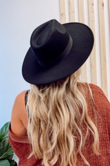 Black - Wide Brim Fedora Hat