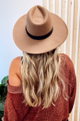 Taupe - Model wearing a Wide Brim Fedora Hat