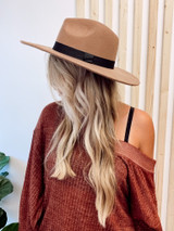 Taupe - Dress Up model wearing a Wide Brim Fedora Hat