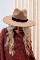 Wide Brim Fedora Hat in Taupe Front View