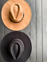 Flat Lay of black and taupe Wide Brim Fedora Hats