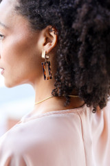 Model wearing Leopard Statement Earrings