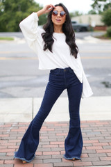 Dress Up model wearing High-Rise Flare Jeans