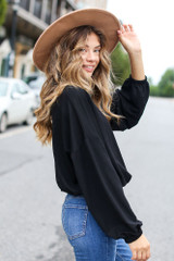 Oversized Balloon Sleeve Top Side View
