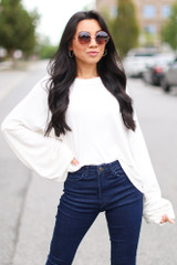 Ivory - Oversized Ribbed Knit Top