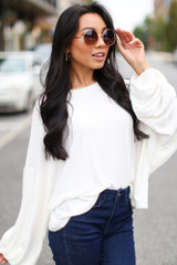 Ivory - Oversized Ribbed Knit Top from Dress Up