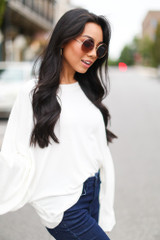 Dress Up model wearing an Oversized Ribbed Knit Top